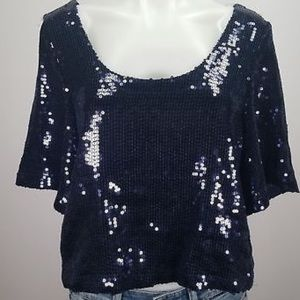 Women's Navy Short Sleeve Sequence Casual Blouse